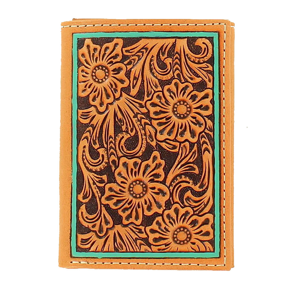 Ariat Mens Floral Tirquoise Edge Trifold Wallet