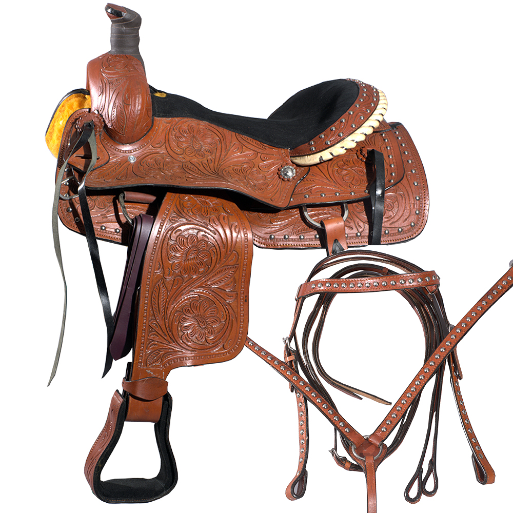 C-5-M2 M2- 15  GREAT AMERICAN WESTERN ROPING ROPER TRAIL PLEASURE SADDLE LEATHER
