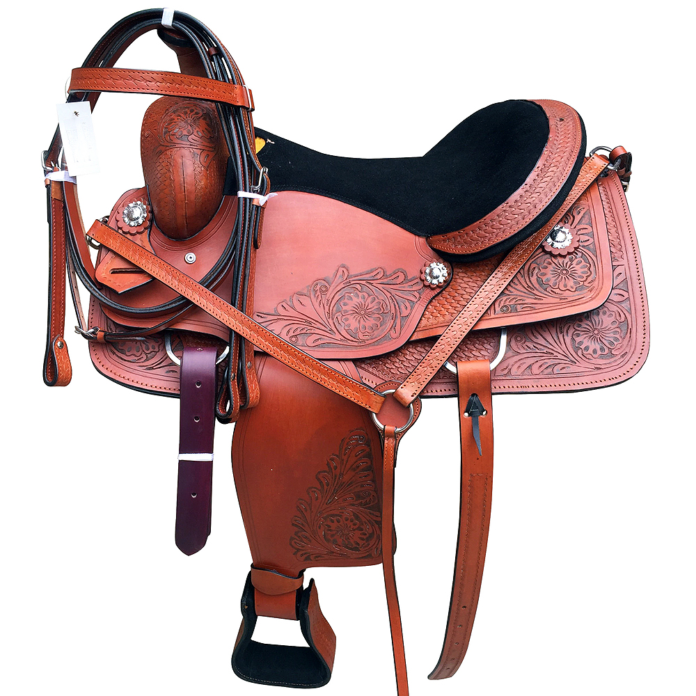 U-6-M3 M3- 16  GREAT AMERICAN WESTERN ROPING ROPER TRAIL PLEASURE SADDLE LEATHER