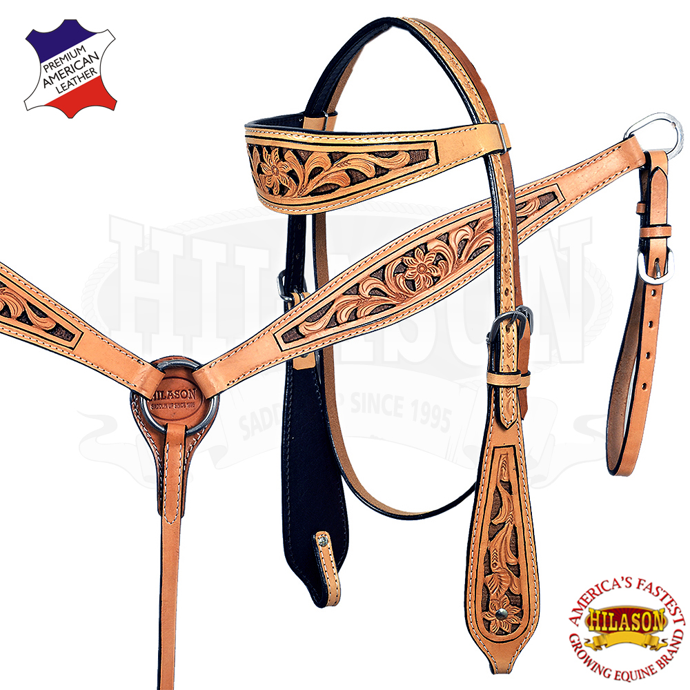 CSET Hilason Western Horse Headstall Breast Collar American Leather Natural