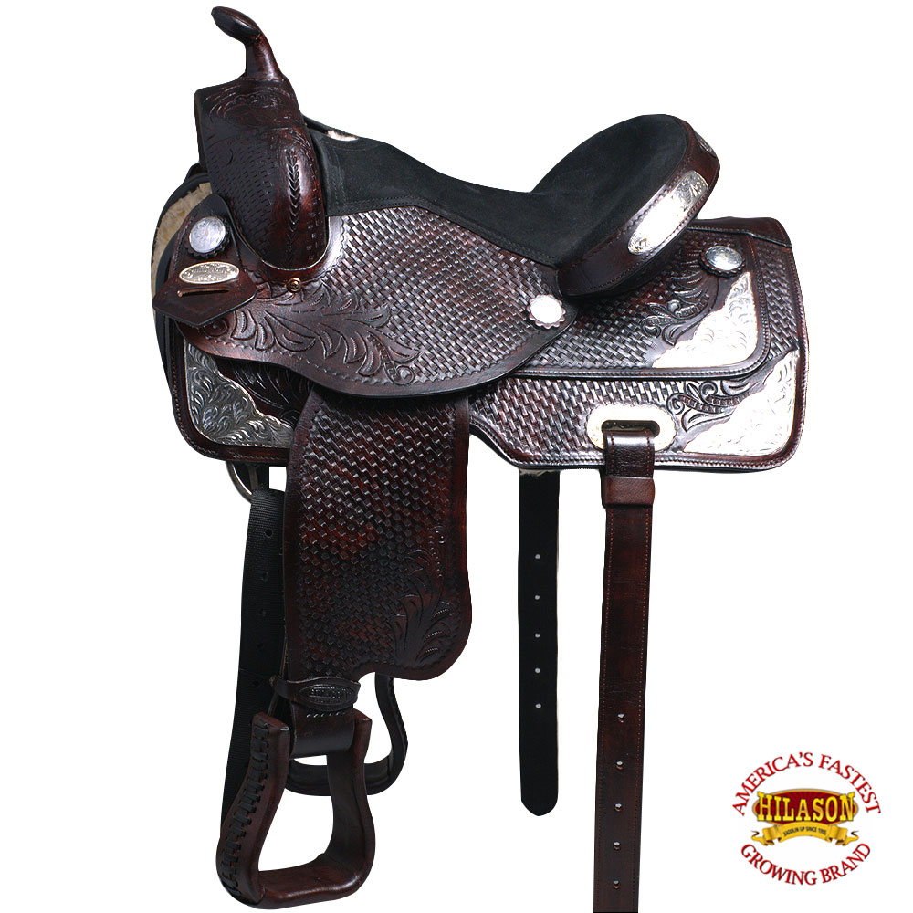 U-B-VX 14  15  16  17  Western Horse Saddle Leather Treeless Trail Barrel Hilaso