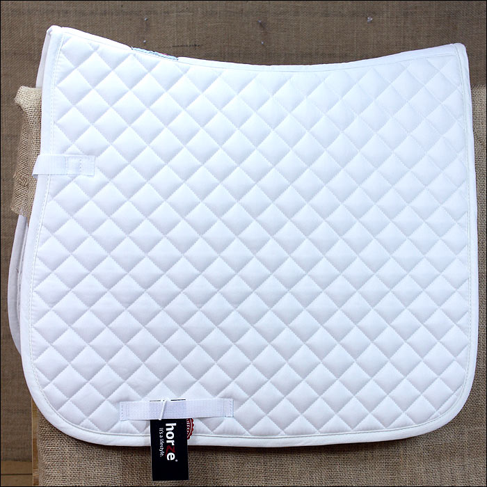 C-WH-F HORZE SUPREME PRINZE DRESSAGE COTTON HORSE SADDLE PAD WHITE  FULL SIZE