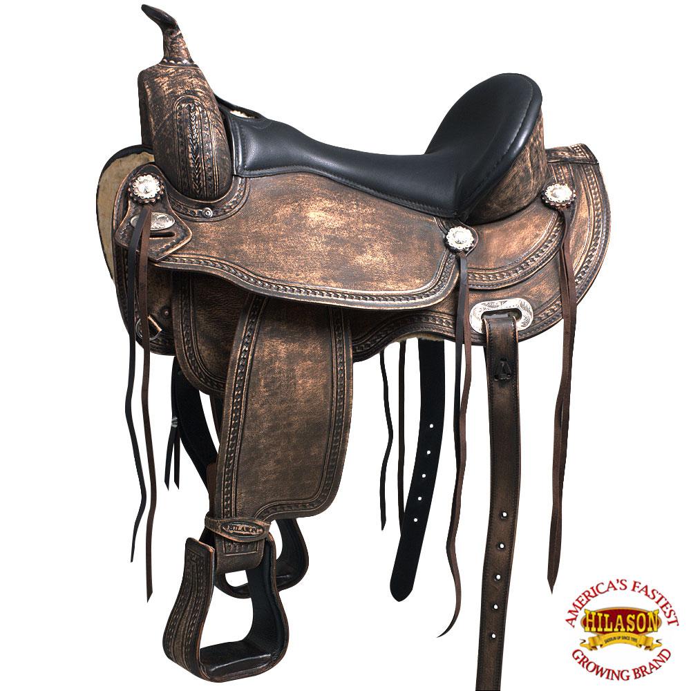 Details about 15 16 17 Western Horse Saddle Leather Treeless Trail Pleasure  Hilason O109