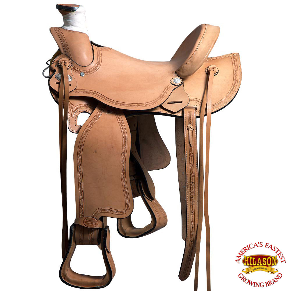 U-1-16 16  HILASON LIGHT WEIGHT HORSE LEATHER SADDLE ROPING WADE WESTERN TRAIL P