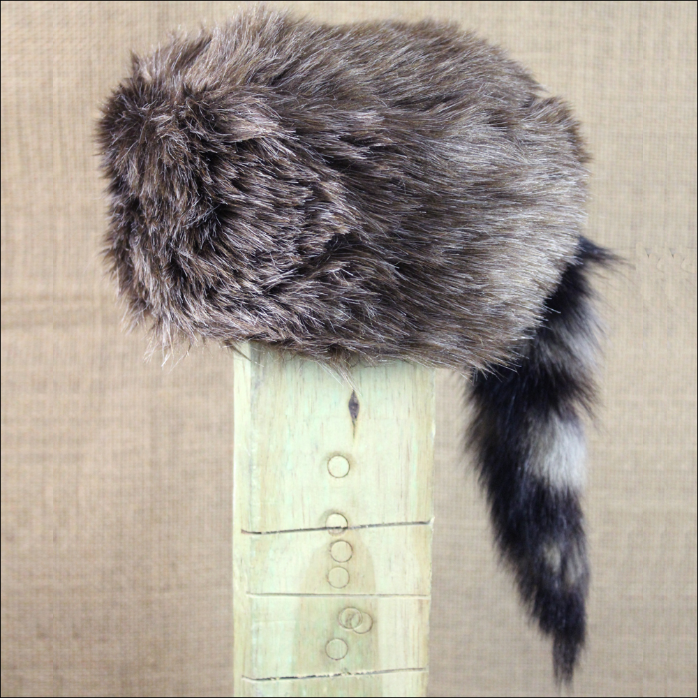 DANIEL BOON COON SKIN HAT WITH REAL COON TAIL MEDIUM 809579726935  4c111a2a9a98