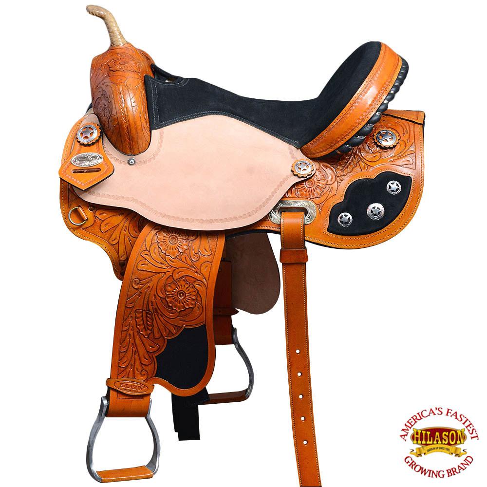 Hilason Western Flex árbol barril caballo Racing sendero cuero sillín de caballo barril beige 7e492d