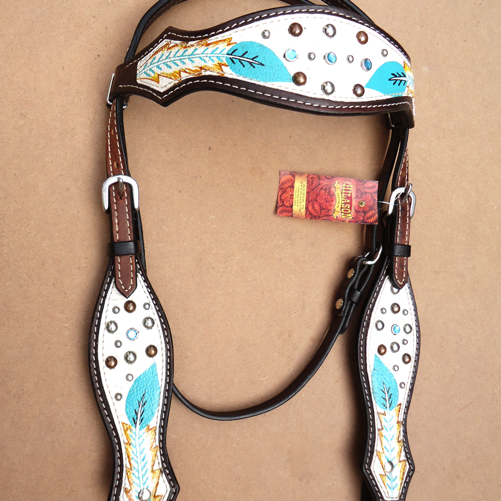 C3HS HILASON WESTERN AMERICAN LEATHER HORSE HEADSTALL bianca TURQUOISE