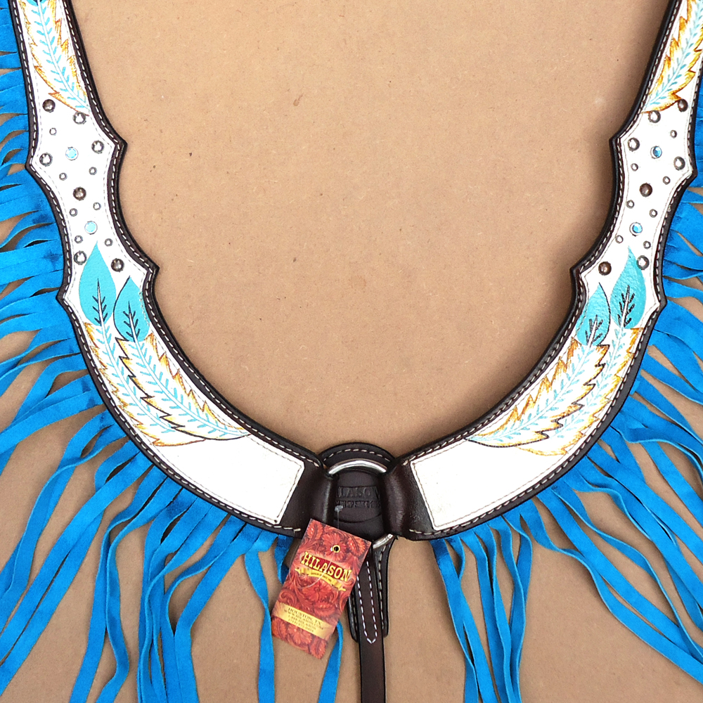 C3BC HILASON WESTERN AMERICAN LEATHER HORSE BREAST COLLAR HAND PAINT bianca TUR