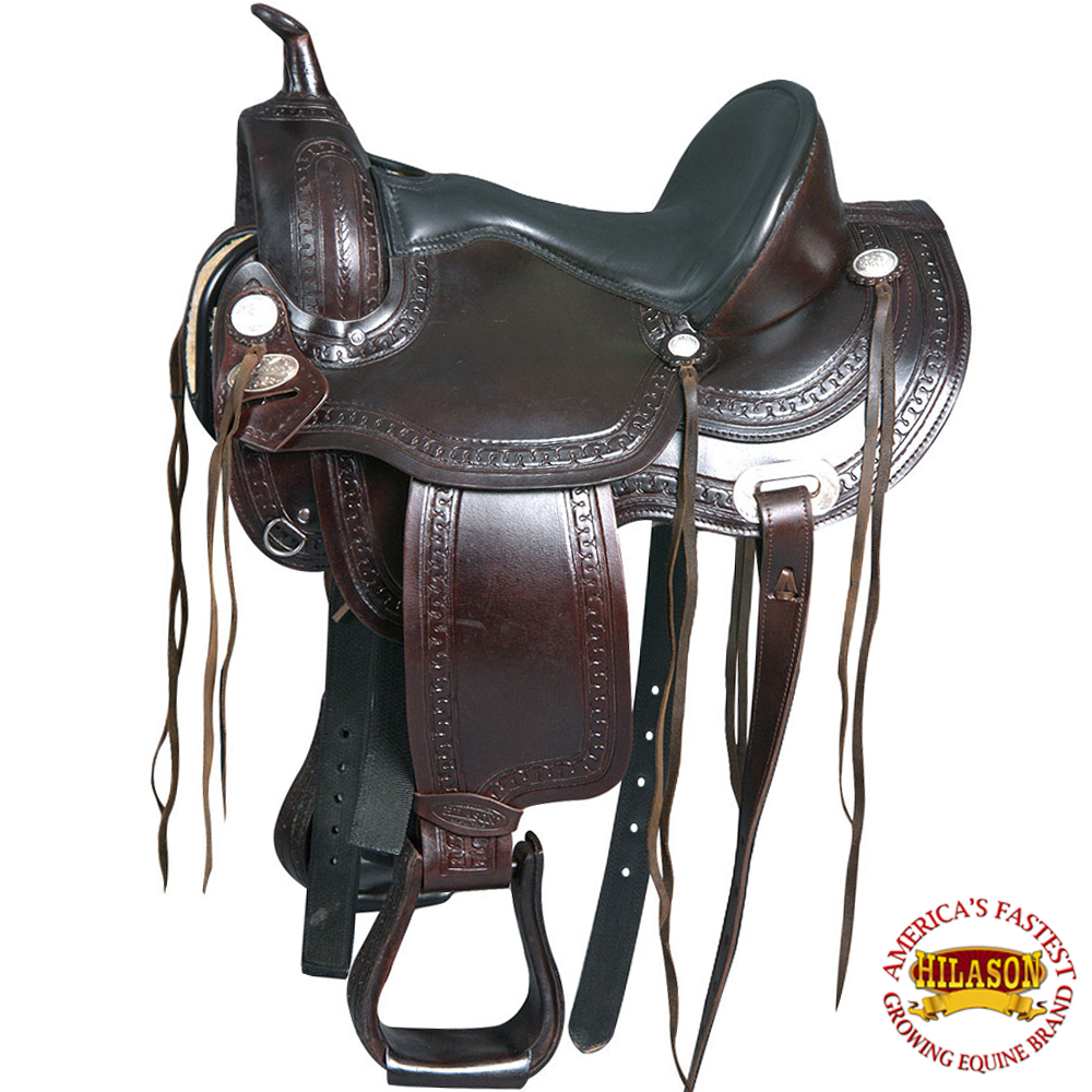 C-1-18 18  Western Horse Saddle Leather Flex Tree Endurance Trail Pleasure Hilas