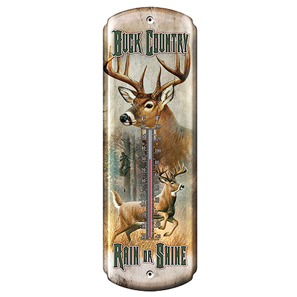 """Deer Hunter with Buck Nostalgic Tin Thermometer 5 inch  x 17/"""" NEW"""