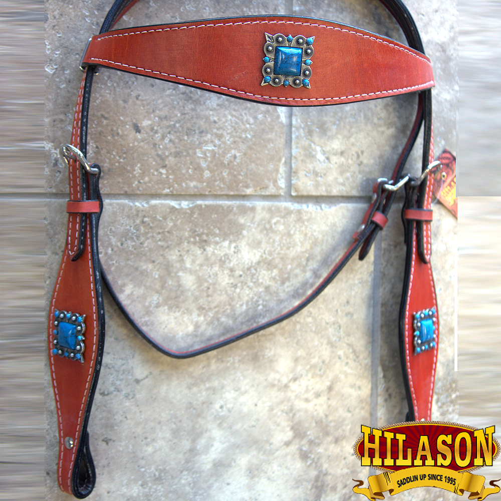 C-M-HS Western Horse Headstall Tack Bridle American Leather Mahogany Silver Spot