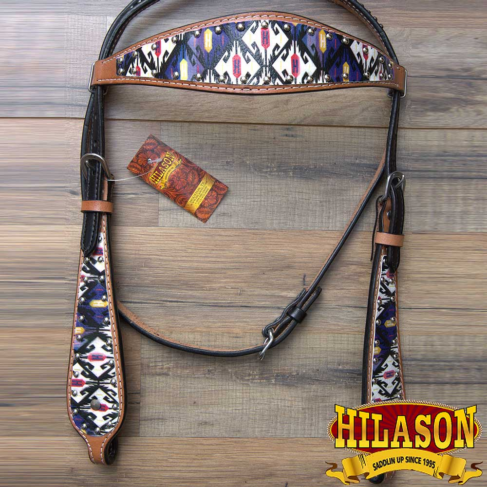U-2-HS HILASON WESTERN HORSE AMERICAN LEATHER BRIDLE HEADSTALL AZTEC PAINTED