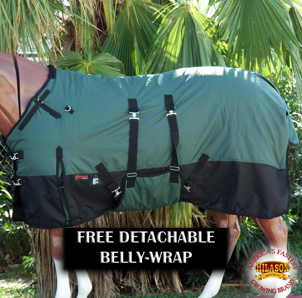 CL75 75 Hilason 1200D Winter Waterproof Poly cavallo Blanket Belly Wrap verde