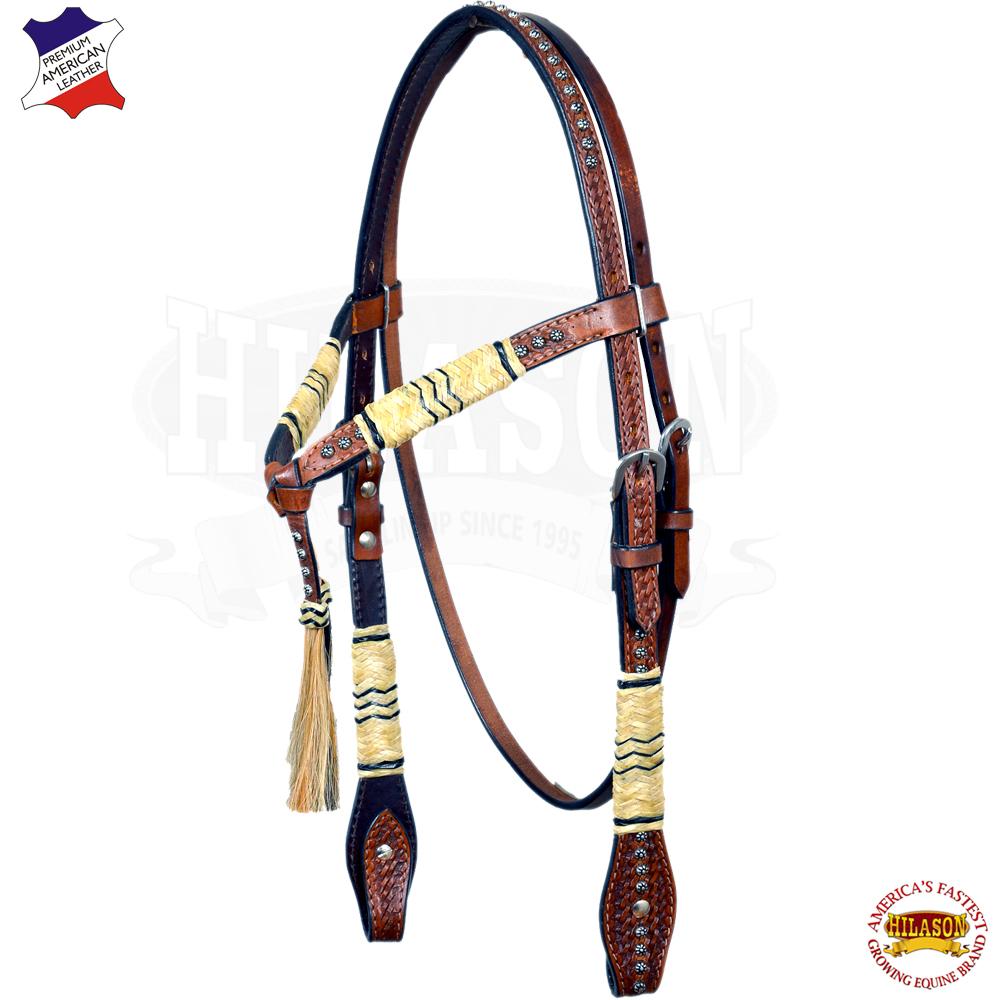 CBHS Hilason Western American Leather Horse Headstall Rawhide Braided Marronee