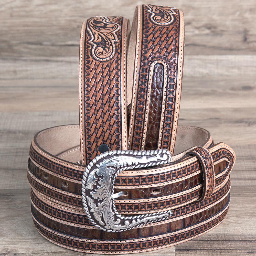 "32-46"" BRIGHTON TAN 11/2"" BONANZA WESTERN LEATHER FLORAL SILVER BUCKLE MENS BELT"