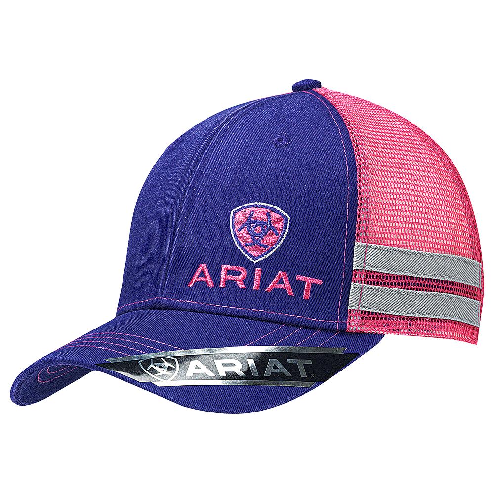 ARIAT WESTERN WOMENS HAT MESH BACK BASEBALL CAP OFFSET PURPLE PINK U-5516