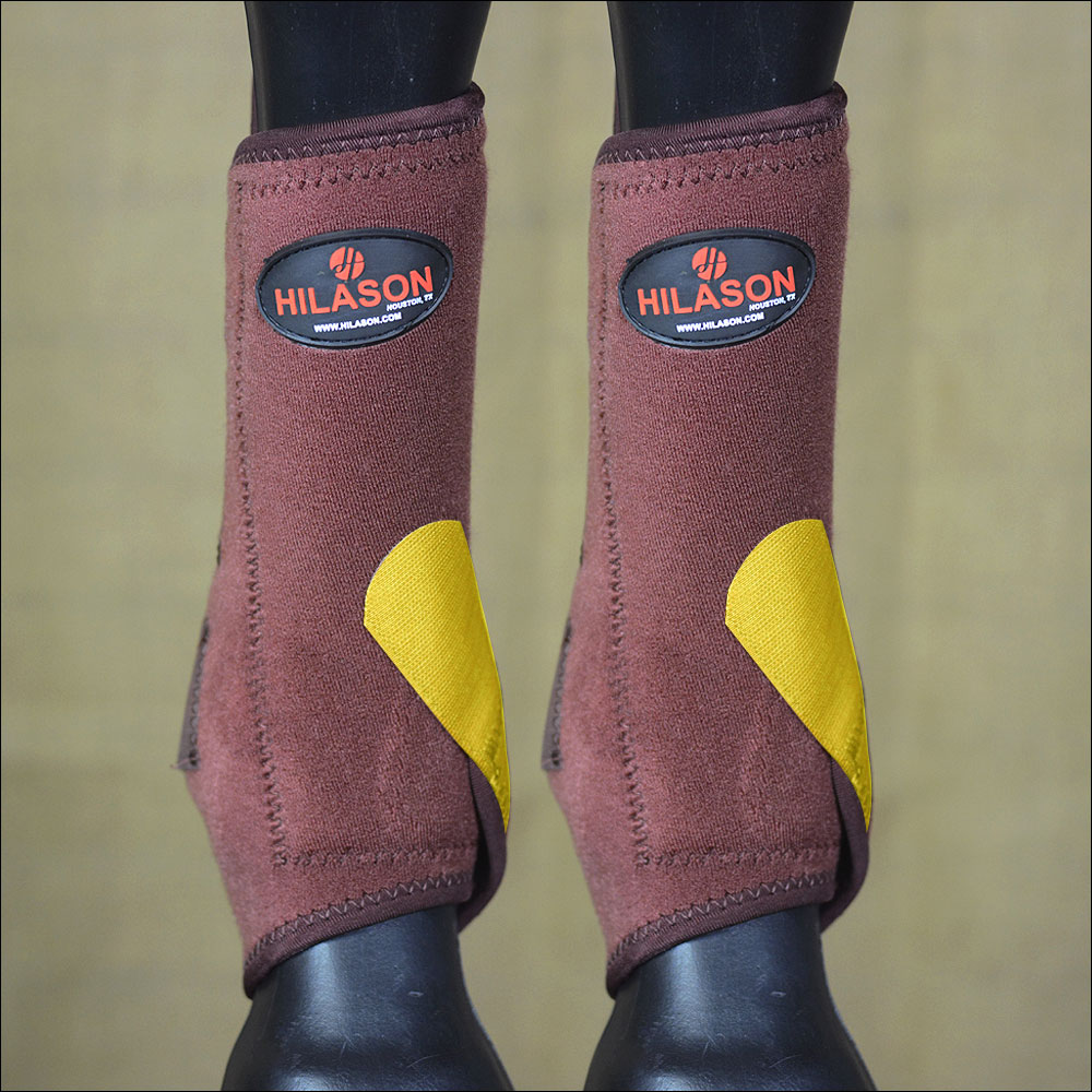 U-OW-L LARGE HILASON HORSE FRONT LEG SPORT BOOT ULTIMATE PredECTION BROWN YELLOW