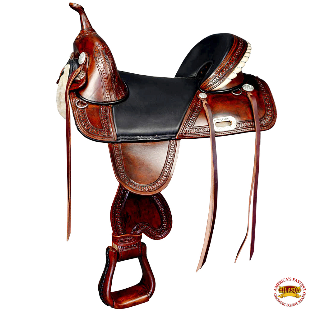 U-M-16 16  HILASON TREELESS WESTERN TRAIL ENDURANCE RACING LEATHER SADDLE