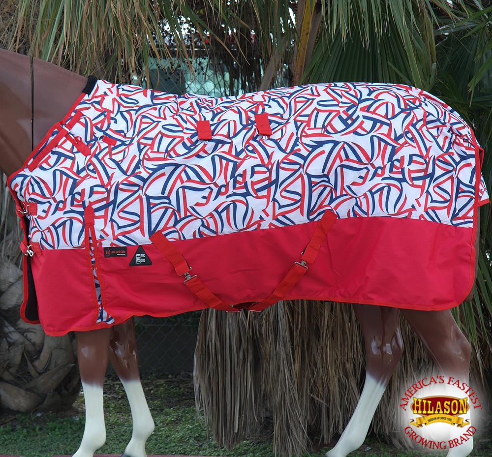 C269 69 Hilason 1200D Turnout Winter Horse Blanket Flag Stripes Print