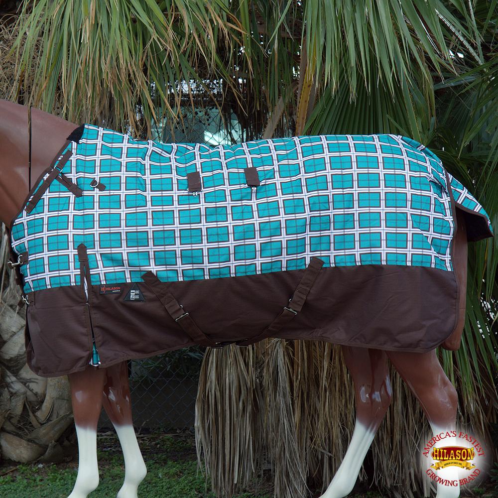 69  Hilason 1200D imperméable Turnout Winter Horse Blanket Turquoise Plaid