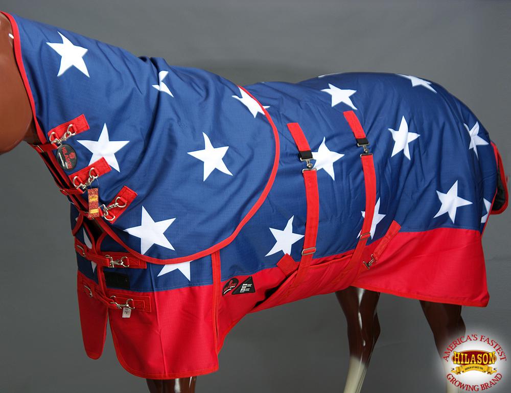 75  Hilason 1200D Winter Horse Hood Sheet Belly Wrap American Flag U-D-75