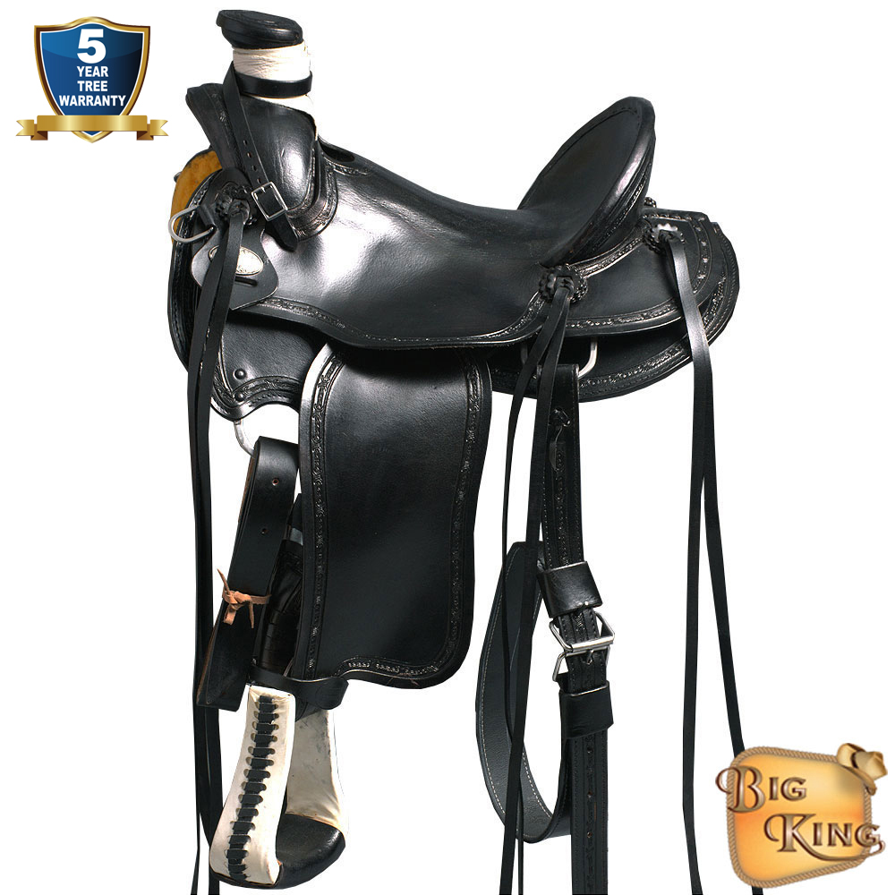 Details about U-69BK Western Horse Saddle Leather Wade Ranch Roping Black  By Hilason