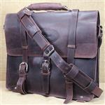 COFFEE BROWN GLANOR RUSTIC VINTAGE LEATHER BRIEFCASE BACKPACK LAPTOP BAG