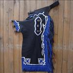 F541 HILASON BRONC BULL RIDING SMOOTH LEATHER RODEO WESTERN CHAPS BLACK BLUE